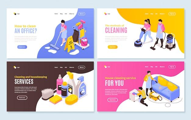 Collezione di banner orizzontali di servizio di pulizia isometrica con quattro composizioni di immagini di siti web e collegamenti cliccabili