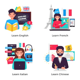Collezione di banner per l'apprendimento delle lingue