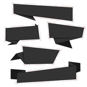 Collezione di banner per social media in carta origami nera del venerdì