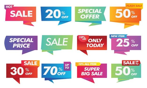 Collezione di banner pubblicitari sociali di vendita a gradiente