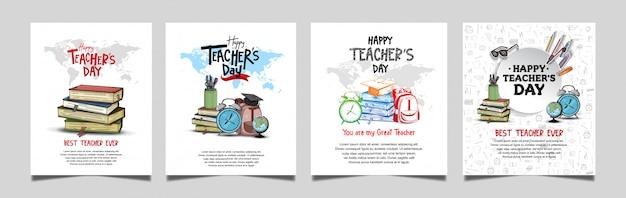 Collezione di banner quadrato felice giorno degli insegnanti