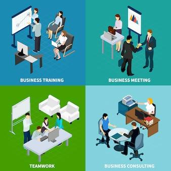 Collezione di banner riunione ufficio isometrica