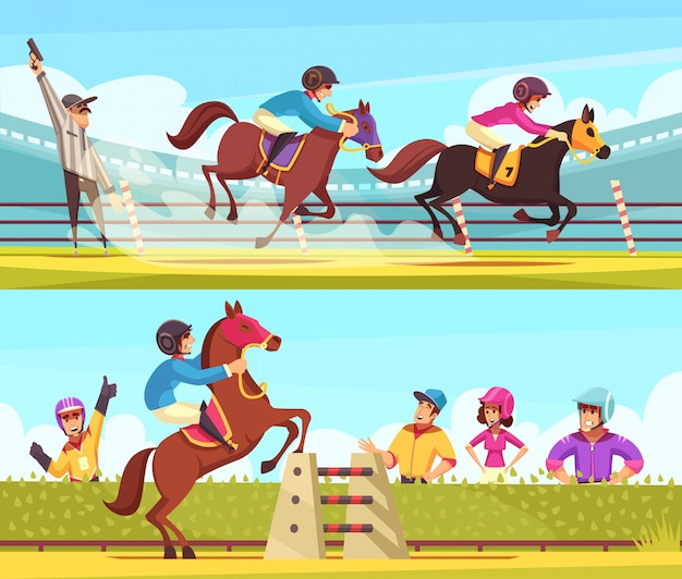 Collezione di banner sport equestri con corse di cavalli