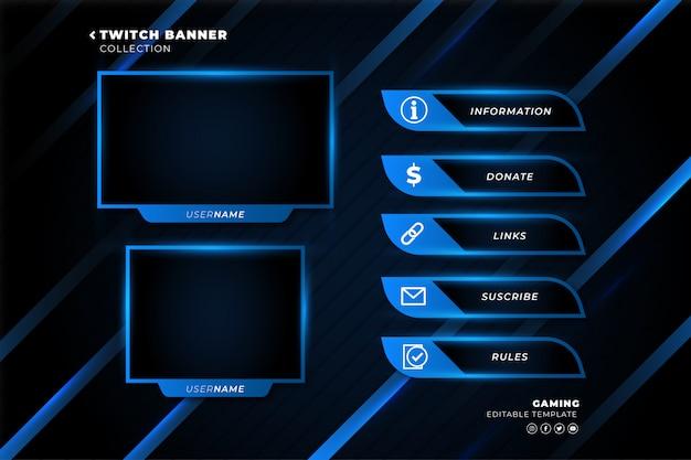 Collezione di banner twitch per modello di streaming live