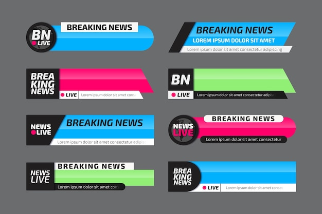 Collezione di banner ufficiali per le ultime notizie