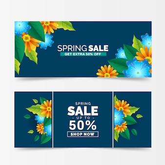 Collezione di banner vendita primavera realistica