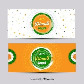 Collezione di banner web diwali con design piatto