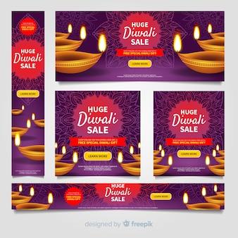 Collezione di banner web diwali con un design realistico