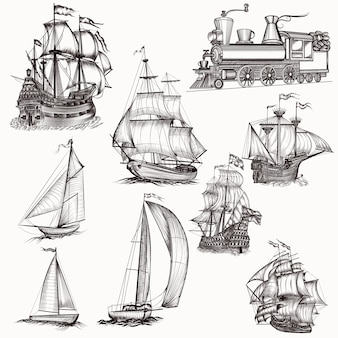 Collezione di barche disegnate a mano