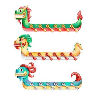 Collezione di barche drago dell'acquerello