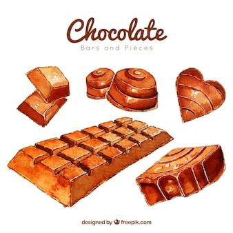 Collezione di barrette di cioccolato e caramelle in stile acquerello