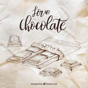 Collezione di barrette di cioccolato in stile schizzo