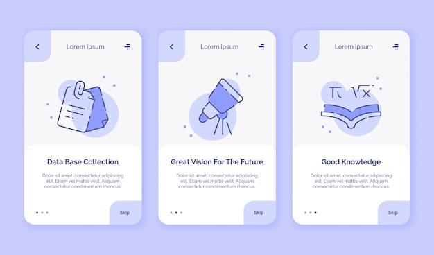 Collezione di base di dati creativi icona di onboarding ottima visione per la futura campagna di buone conoscenze per lo stile piatto del modello di atterraggio delle app mobili