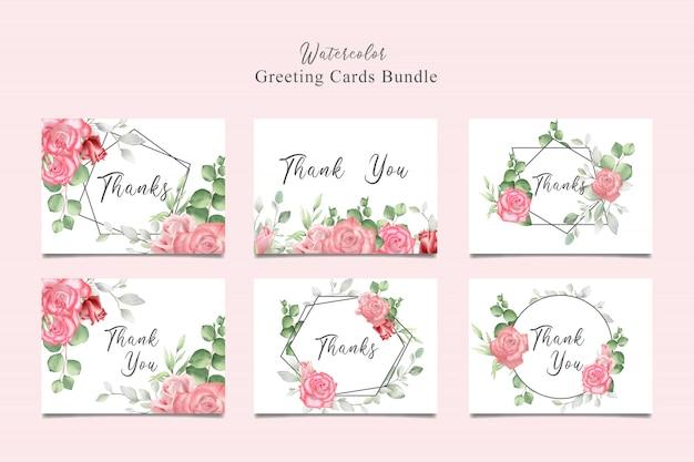 Collezione di biglietti d'auguri con acquerello floreale e foglie