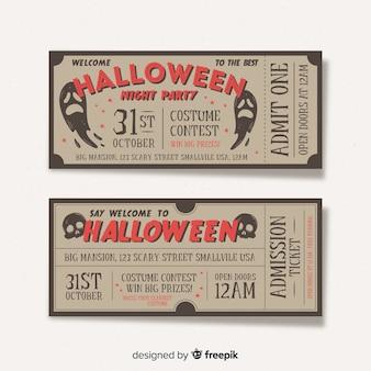 Collezione di biglietti per feste di halloween con design vintage