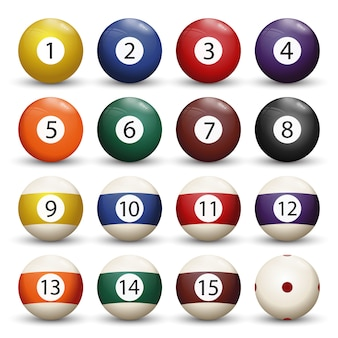 Collezione di biliardo pool o palle da biliardo con numeri