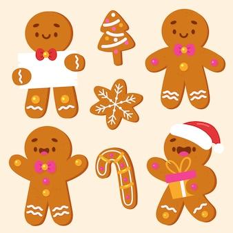 Collezione di biscotti uomo di pan di zenzero disegnati a mano