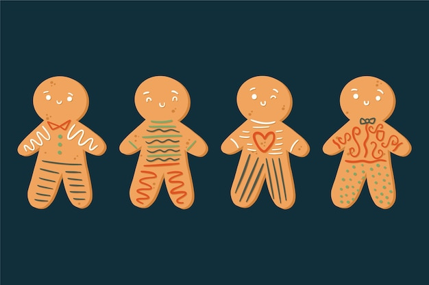 Collezione di biscotti uomo di panpepato disegnato a mano