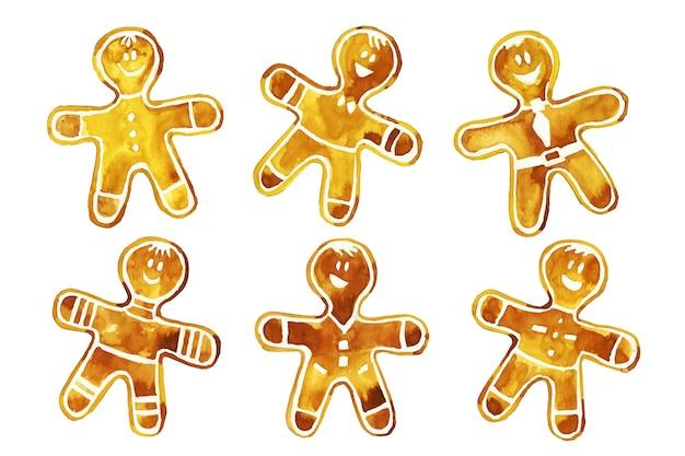 Collezione di biscotti uomo pan di zenzero dell'acquerello