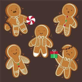 Collezione di biscotti uomo pan di zenzero disegnati a mano