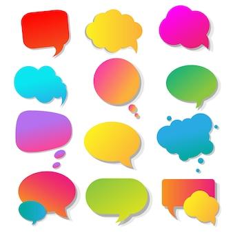 Collezione di bolle colorate di discorso
