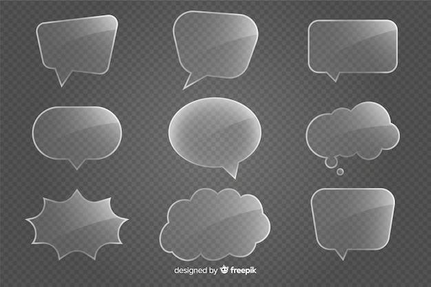 Collezione di bolle di discorso di vetro realistico