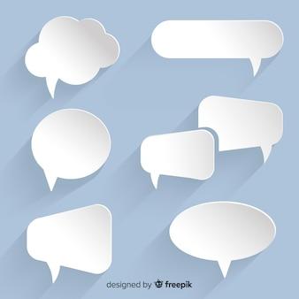 Collezione di bolle di discorso piatto in stile carta