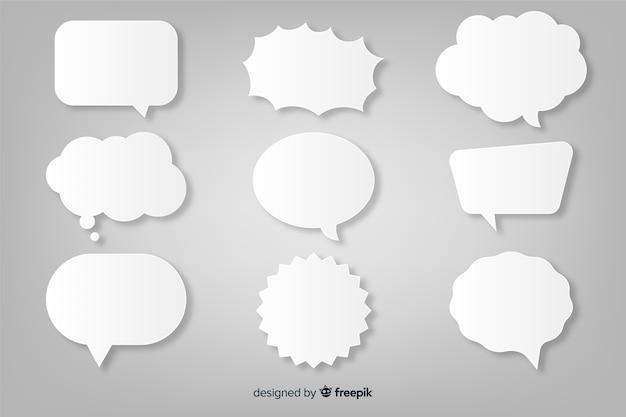 Collezione di bolle di discorso piatto stile carta