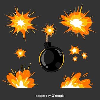 Collezione di bombe e esplosioni di fumetti
