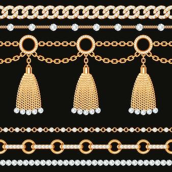 Collezione di bordi di catena metallica dorata con pietre preziose e nappe.