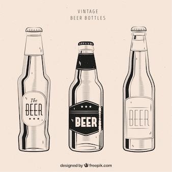 Collezione di bottiglie di birra d'epoca