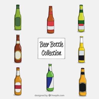 Collezione di bottiglie di birra disegnata a mano