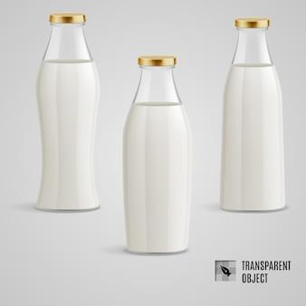 Collezione di bottiglie di latte