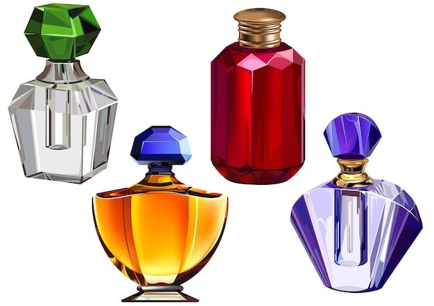Collezione di bottiglie di profumo