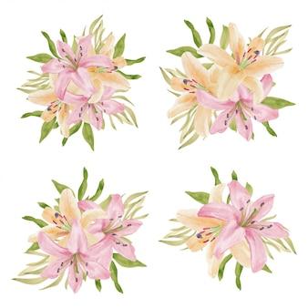 Collezione di bouquet di fiori tropicali giglio dell'acquerello