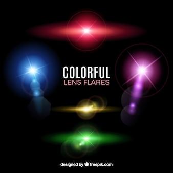 Collezione di brillamenti di lenti in stile colorato