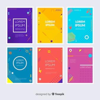 Collezione di brochure in stile memphis