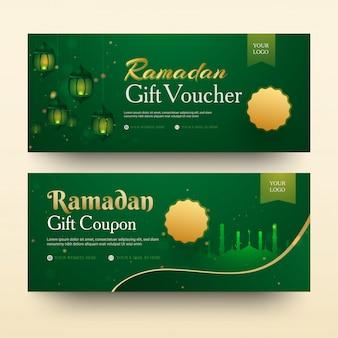 Collezione di buoni regalo del ramadan con lanterne illuminate e