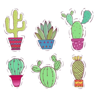 Collezione di cactus colorati doodle