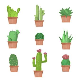 Collezione di cactus in illustrazione vettoriale