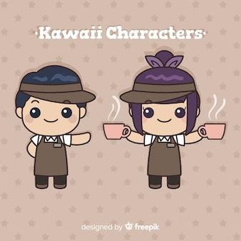 Collezione di camerieri kawaii disegnati a mano