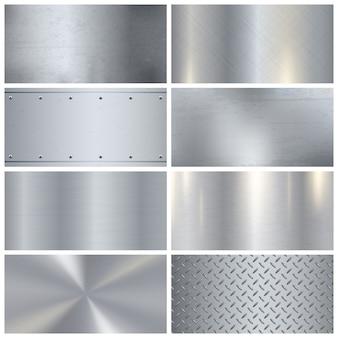 Collezione di campioni 3d realistici in metallo