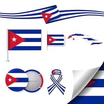 Collezione di cancelleria con la bandiera del design cuba