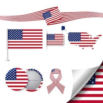 Collezione di cancelleria con la bandiera del design usa
