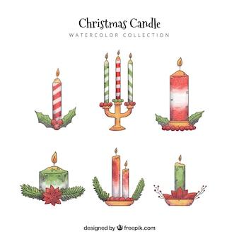 Collezione di candela di natale disegnata a mano