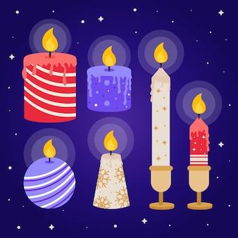 Collezione di candele di natale