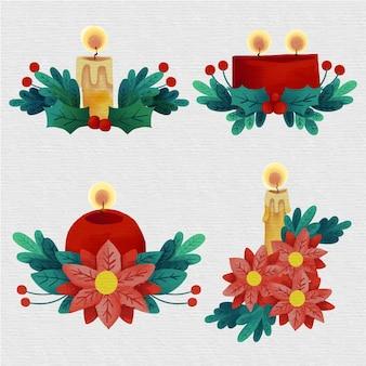 Collezione di candele natalizie ad acquerello