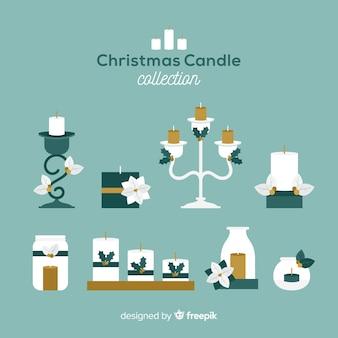 Collezione di candele natalizie piatte