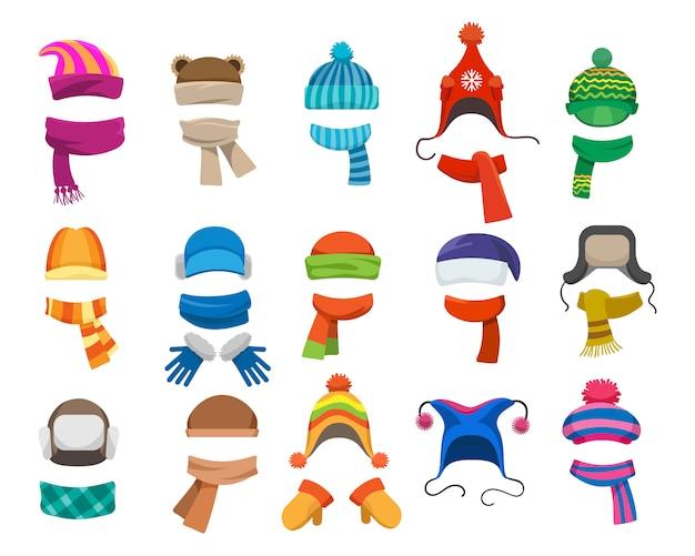 Collezione di cappelli invernali o autunnali