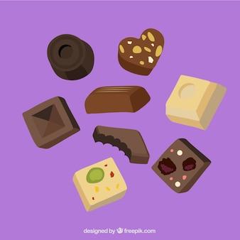 Collezione di caramelle al cioccolato con diversi gusti